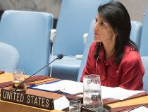 In this Friday, April 7, 2017 file photo, United States ambassador to the United Nations Nikki Haley listens as Syria's Deputy U.N. Ambassador Mounzer Mounzer speaks during a Security Council meeting on the situation in Syria at United Nations headquarter
