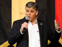In this March 18, 2016, file photo, Fox News Channel's Sean Hannity speaks during a campaign rally for Republican presidential candidate, Sen. Ted Cruz, R-Texas, in Phoenix.  (AP Photo/Rick Scuteri, File)
