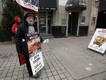 A protester outside the Morgentaler Clinic