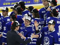 Mississauga Steelheads' players celebrate their 7-0 shutout against the Peterborough Petes during third period of Game 4 Eastern Conference Final OHL action on Wednesday April 26, 2017 at the Hershey Centre in Mississauga, Ont. The Petes lost 7-0 and wer