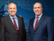 B.C. Liberal Leader Christy Clark, Green Party Leader Andrew Weaver and NDP Leader John Horgan