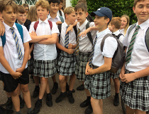 Schoolboys in skirts