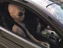 Alien in car