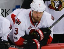 This May 15, 2017 file photo shows Ottawa Senators' Marc Methot (3) watching from the bench during the third period of Game 2 of the Eastern Conference final in the NHL hockey Stanley Cup playoffs against the Pittsburgh Penguins in Pittsburgh.