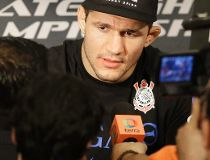 Former UFC heavyweight champion Junior Dos Santos, answers questions during a media availability Thursday, Oct. 17, 2013, in Houston. (AP)