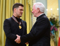 Governor General David Johnston presents Michael Buble with the National Arts Centre Award