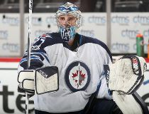 Connor Hellebuyck of the Winnipeg Jets