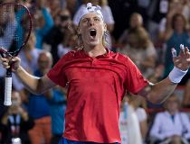 Denis Shapovalov of Canada celebrates after defeating Adrian Mannarino of France during quarter-final play at the Rogers Cup tennis tournament Friday August 11, 2017 in Montreal. The men's Rogers Cup set a record for attendance at a one-week tournament of