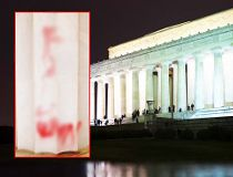 The Lincoln Memorial was hit by vandals overnight. (AFP)