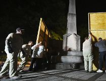 confederate statue covered