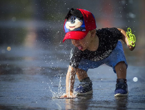 Nayden cools off at Lansdowne's water plaza