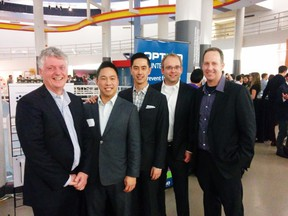 The individuals in the Optigo team picture are (from left to right): Jim Derbyshire - Board Chair and mentor. Pook-Ping Yao - CEO & co-founder Byron Thom - co-founder, VP Systems and General Counsel Dan Ronald - co-founder, VP Product Management Jeff Koffman - Director Business Development