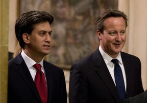 The leader of the Labour Party, Ed Miliband (left) could well defeat British Prime Minister David Cameron (right) in this May's election. But it's not because his party is popular. It's mainly because the Conservative Party's support has been eaten away by the growing number of British voters who want to reduce immigration levels. Is there a message from Britain for Canada?