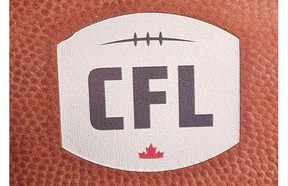 A football with the new CFL logo sits on a chair as CFL Commissioner Jeffrey L. Orridge gives his first State of the League media conference.