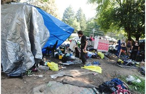 A makeshift camp in Abbotsford had to be packed up after BC Hydro ordered homeless campers off the land last summer.