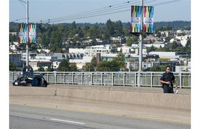 The Granville Street bridge southbound remained closed Thursday morning (July 31, 2014) after an accident at approximately 4 a.m. left one person dead. The driver of the second vehicle was taken into custody.