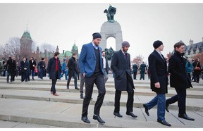 The schedule has taken Canucks players — including from left, Jacob Markstrom, Ryan Miller, Alex Burrows and Adam Cracknell seen here in Ottawa in November — all over North America this year. (Jeff Vinnick photo, Vancouver Canucks)