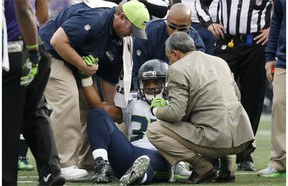 Seattle Seahawks running back Thomas Rawls was easily on pace for another 100-yard rushing game Sunday in Baltimore when he suffered a broken ankle and ligament damage, ending his season.