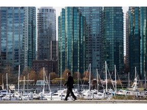 Economist Arthur Pigou in the 1920s spelled out why there should be taxes on things that harm the common good. A tax specialist suggests that can be true of vacant houses and apartments. (Photo: Vancouver's upscale Coal Harbour, where more than one in five condo units are empty.)
