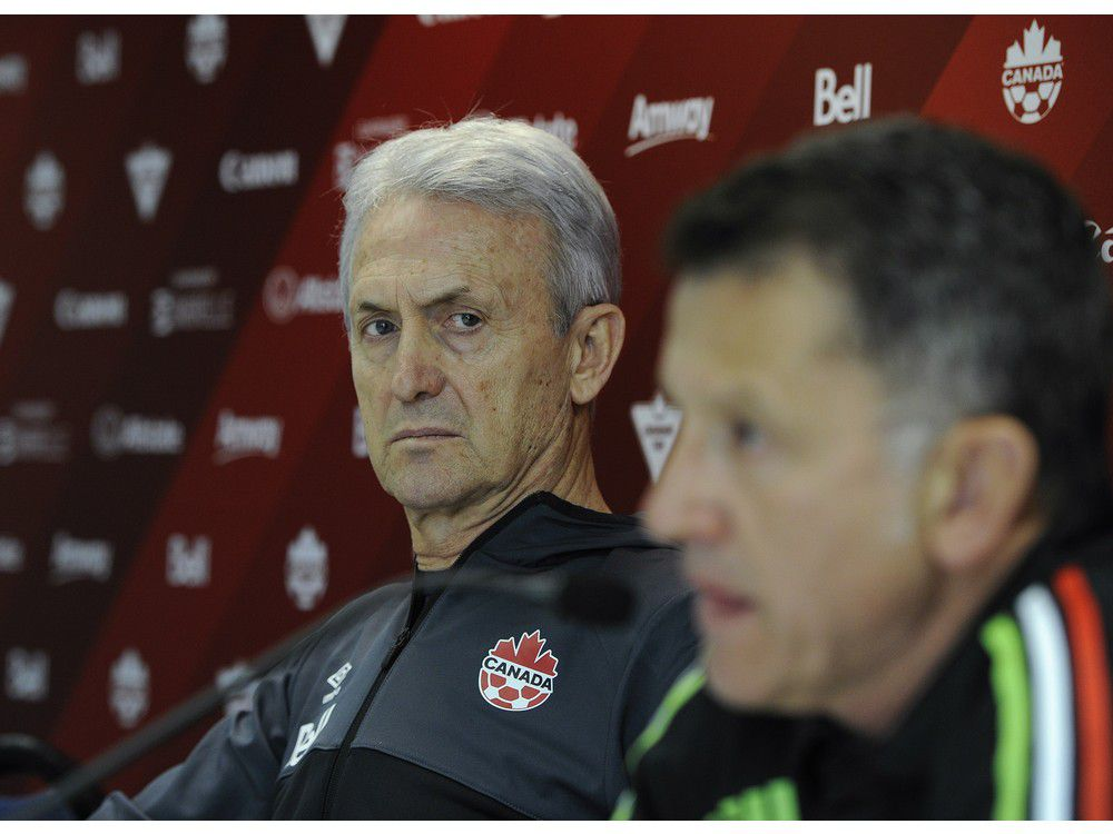 Vancouver B.C. March 22, 2016 National head coaches of Canada (Benito Floro) (left) and Mexico (Juan Carlos Osorio) (r) get set to square off this Friday with large crowds expected at the big game on March 22, 2016. Mark van Manen /PNG Staff photographer see Gary Kingston/ Marc Weber Sports Features /and Web. stories. 00042308A [PNG Merlin Archive]