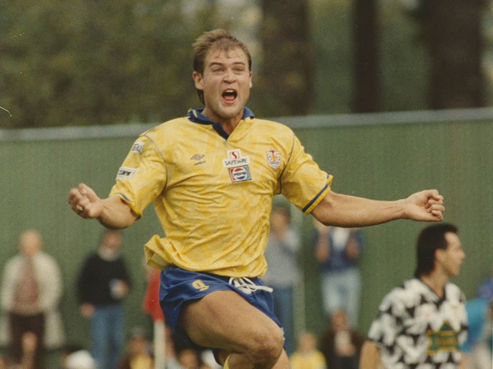 John Catliff celebrates a goal in the 1990 Canadian Soccer League championship.