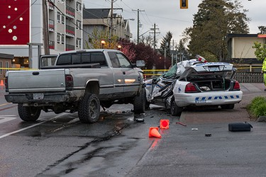 A Westshore RCMP cruiser was involved in a fatal crash on the morning of Tuesday, April 5, 2016, at Peatt Road and Goldstream Avenue in Langford.