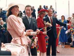 Mila and Brian Mulroney joined Diana Princess of Wales and Prince Charles in a ribbon-cutting ceremony at Canada Place in May 1986.