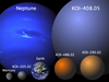 The four new planet candidates, shown to scale beside the planets Mercury, Earth and Neptune.