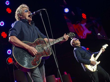 VANCOUVER May 13 2016. L-R. The Who's Roger Daltrey and Pete Townshend perform in  concert at Rogers Arena, Vancouver, May 13 2016.