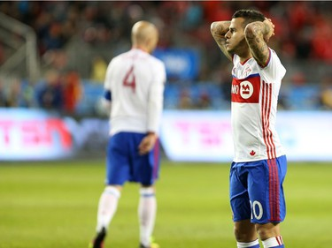 Toronto FC forward Sebastian Giovinco (10) pauses after his team narrowly missed an opportunity to tie the game against Vancouver Whitecaps late in the second half of MLS action in Toronto on Saturday, May 14, 2016.