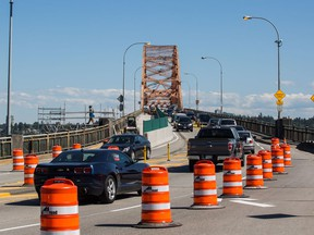 Traffic is down to one lane in each direction on the Pattullo Bridge due to the rehabilitation project.
