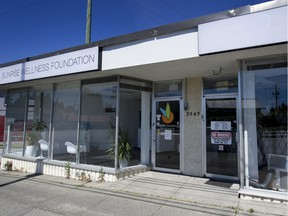 Two marijuana shops located next door to one another have gone to the city's board of appeal over rejected business licence applications. Sunrise Wellness Foundation (left) was successful, while Cannpassion (right) was not.