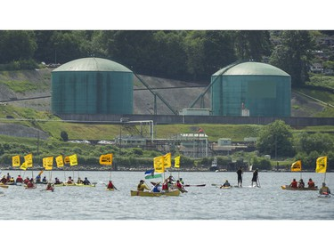 Climate change activists surrounded the Kinder Morgan marine terminal on land and water in Burnaby on May 14, 2016.