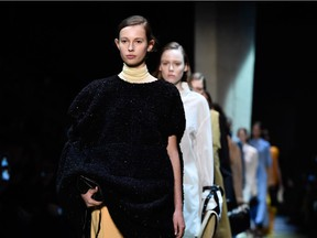 Models walk the runway during the Celine show as part of the Paris Fashion Week Womenswear Fall/Winter 2016/2017 on March 6, 2016 in Paris, France.