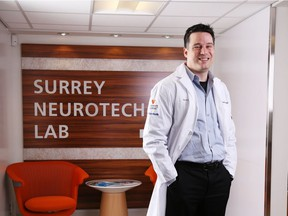 Dr. Ryan D'Arcy at Surrey Neurotech Lab, where he's been testing his NeuroCatch technology.