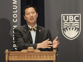 Santa Ono speaks after being announced as the 15th president and vice-chancellor of the University of British Columbia, in Vancouver, BC., June 13, 2016.