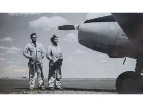 Jab Sidhoo (right) checks out a plane in Caron, Sask. during the Second World War with one of his co-workers. Sidhoo was an airplane mechanic during the war, an experience that changed his life. He died earlier this year at the age of 93.