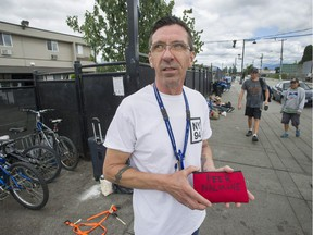 Dan Gregoire, a supervisor at the Lookout Emergency Aid Society in Surrey, with a Naloxone kit, which is used to reverse opioid drug overdoses.