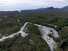 Aerial view of the Yellow Giant Mine. A total of 18 charges were laid against owner Banks Island Gold, its ex-president and a geologist for failure to report a pollution spill and repeatedly failing to comply with environmental permits at the mine. Banks Island filed for bankruptcy early this year.