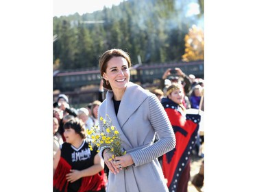 Catherine, Duchess of Cambridge visits Carcross during the Royal Tour of Canada on September 28, 2016 in Carcross, Canada. Prince William, Duke of Cambridge, Catherine, Duchess of Cambridge, Prince George and Princess Charlotte are visiting Canada as part of an eight day visit to the country taking in areas such as Bella Bella, Whitehorse and Kelowna