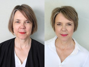 Bettina Kommass, a 55-year-old minister visiting Vancouver from Germany who wanted to refresh her look for her 33rd wedding anniversary, before (left) and after she received a makeover from Nadia Albano.