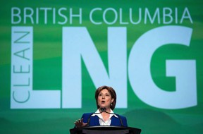 Former B.C. premier Christy Clark addressing the LNG in BC Conference in Vancouver in 2015.