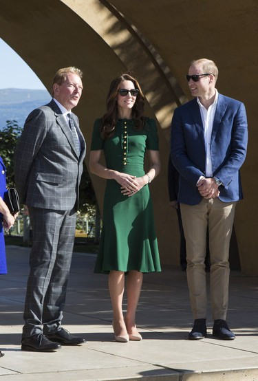 Prince William and Kate, the Duke and Duchess of Cambridge, join Mission Hill Family Estate proprietor (L) Anthony von Mandl in the Okanagan Valley, British Columbia, Canada on Sept 27, 2016.