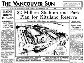 Sept. 15, 1936 front of the Vancouver Sun featuring a story on a proposed auditorium and stadium on the Kitsilano Reserve beside the Burrard Bridge. For a John Mackie story. [PNG Merlin Archive]