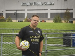 Marcel Horn stands on a soccer field at the Langley Event Centre. He said Langley United has worked for months to come up with a plan that results in no game or practice cancellations due to the Vancouver Giants moving to the facility and attempts to deal with the area's limited parking.