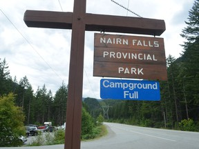 Campground Full sign posted at Nairn Falls Provincial Park south of Pemberton in July 2016.