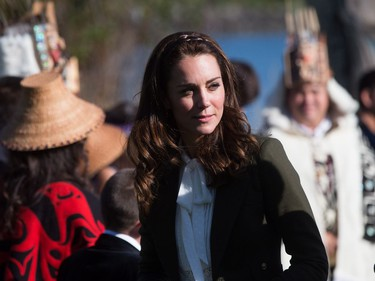 The Duchess of Cambridge, arrives at the Haida Heritage Centre and Museum in Haida Gwaii, B.C., on Friday, September 30, 2016.