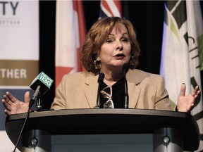Mayor Linda Hepner speaks on the City of Surrey embarking on a comprehensive, collaborative and measurable approach to public safety by launching a new Public Safety Strategy on Monday. NICK PROCAYLO/PNG