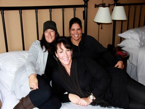 Camilla Lee James, a former CFL cheerleader and cheer coach with the Saskatchewan Roughriders and Calgary Stampeders, relaxes before the 2012 Grey Cup in Toronto with close friends Anita Sehgal, right, and Lisa Kurenoff behind her. CJ passed away on Thursday, at age 46, of pancreatic cancer.