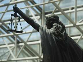 Scales of Justice statue at B.C. Supreme Court in Vancouver.